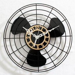 Wholesale Black Electric Fan - Fan Retro Wall Clock Handmade Antique Metal Electric Multi-Color Home Decor Arabic Numerals Shabby Vintage Fan Wall Clock