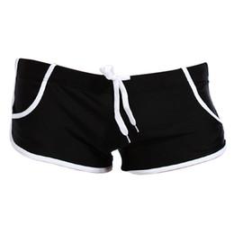 Wholesale Navy Swim Shorts - Wholesale- New Arrival Sexy Men Swimming Trunks Beach Pants Boxers Short Loose Swimwear Gray Navy blue Black Blue Yellow White Red