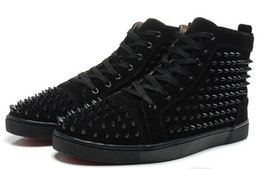 Wholesale Womens Spiked Sneakers - New Arrival mens womens red matter leather with red spikes high top sneakers,designer men causal sports shoes fast shipping