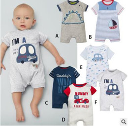 Wholesale Baby Girl Anchor Clothing - Baby Onesies 2017 Summer Printed Baby Girl Boys Rompers Jumpsuits Short Sleeve Cotton Letters Striped Anchor Rompers Outfits Baby Clothes