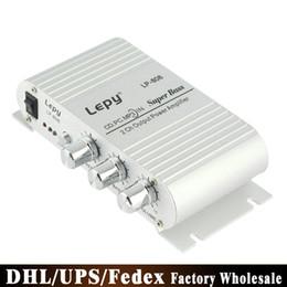 Wholesale 12v Dv - DHL 10PCS Original Lepy LP-808 Car Channel Amplifier Stereo Subwoofer Audio Accessory Connect With Smart phones MP3 MP4 DV