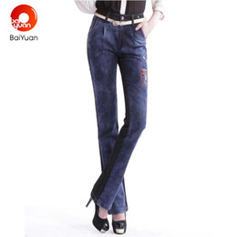 Wholesale Long Coats For Women Pattern - Baiyuan 2017 Fashion Spliced Coated Ladies Jeans for Womens Straight Skinny Trousers Female Cat Embroidered Flares 7F01B126
