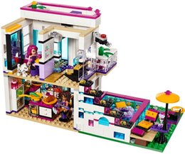 Wholesale 12 Inch Figures - New 619pcs Friends Series Livi's Pop Star House Building Blocks Andrea mini-doll figures Toy Compatible with Legoe Friends