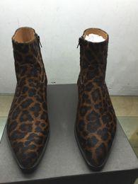 Wholesale Mens Leopard Print Shoes - Leopard Brand Mens Biker Boots Westerneo Wyatt Shoes Plus Size 46 Fashion Designer Men's Shoes Genuine leather Fashion Chelsea Boots for men