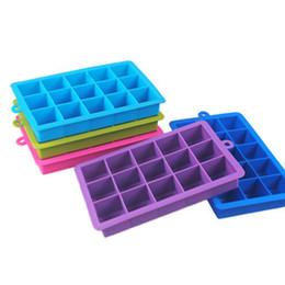 Diy küche gadgets online-DIY kreative quadratische Form Eiswürfel Silikonform mit 15 Rahmen Küche Eiskübel Bar Geräte Küchenhelfer
