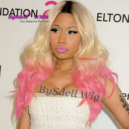 Wholesale black celebrity lace front wigs - Hot Sale Celebrity Nicki Minaj Hairstyle Lace Front Wig Synthetic Black Ombre Blonde to Pink red Color Lace Front Wigs for Sale