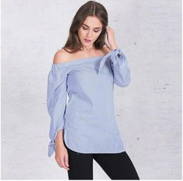Wholesale Girl Work Top - Elegant bow blue off shoulder female blouses shirts Sexy summer 2017 girls white blouse Women fashion working tops striped blusas new