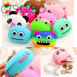 Wholesale Cute Girl Headphones - Wholesale- CISGOO Women Key Wallets Cartoon Animal Candy Colored Girls Coin Children Cute Cartoon Mini Coin Purse for Earphone Headphone