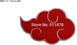 "Wholesale Naruto Logo - 4.7"" BIG The Akatsuki Logo Patch Naruto Ninja Clan Suit anime Comics Movie TV Series cosplay Embroidered iron on patch APPLIQUE"