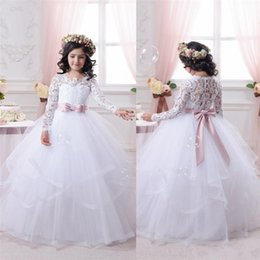 Wholesale Cheap Ball Gown Dresses Girls - 2017 Cheap White Flower Girl Dresses for Weddings Lace Long Sleeve Ball Gown Girls Pageant Dresses First Communion Dress Little Girls Prom