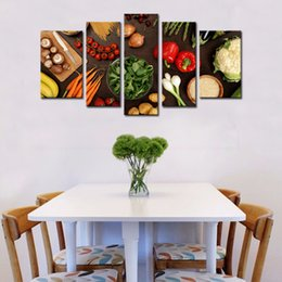 Wholesale vegetable prints - 5 Picture Combination Wall Art Table Top Full Of Fresh Vegetables Fruit And Other Healthy Foods Print On Canvas For Home Decoration