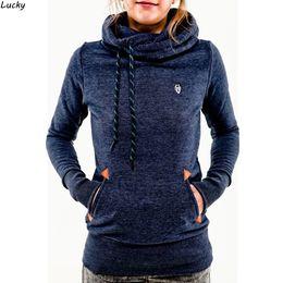 Wholesale Hooded Blouse - Wholesale- Womens Pocket Hoodie Casual Sweatshirt Female Long Sleeve Pocket Slim Hooded Pullover Tops Blouse