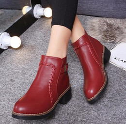 Wholesale Platform Ankle Boots Wholesale - Wholesale- 2016 Winter Ankle Boots For Women Warm British Fashion Platform PU Motorcycle Ankle Martin Boots Shoes Woman boots B432