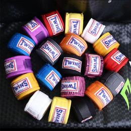 Wholesale Muay Thai Kick Boxing - 2pcs pack 5M Cotton kick boxing bandage wrist straps sports Sanda Taekwondo Hand Gloves wraps bandagem muay thai