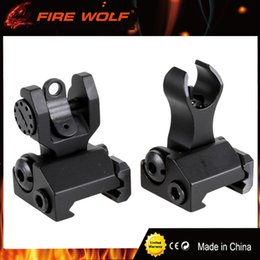Wholesale iron sales - FIRE WOLF Hot Sale Tactical Metal Iron Front And Rear Folding Battle Sight Set Airsoft Hunting Accessories