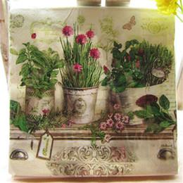 Wholesale Paper Flower Pots - Wholesale- 20 Pcs Pack Vintage Color Potted Garden Flower Paper Napkin Party Virgin Wood Paper Napkin For Party Dinner Decoration