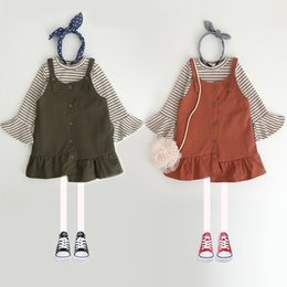 Wholesale Baby Long Sleeve Stripe Top - Everweekend Baby Girls Stripes Tees Shirt and Suspender Dress Sets Flare Sleeves Tops+Slip Dress Autumn Outfits