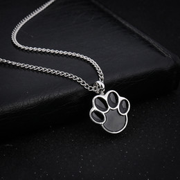 Wholesale Wholesale Pet Urns - Cute Puppy Claws Birthstone In Memory Of Pet Dog Memorial Ashes Urn Pendant Necklace For Ashes Keepsake Urn Charms Cremation Jewelry