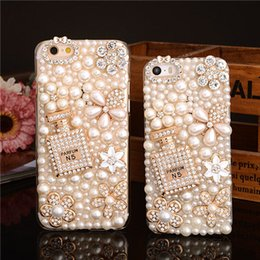 Wholesale Diamante Iphone Covers - Hand-made Pearl Bling Shine Diamante Shaped Diamond Stones Rhinestone Crystal Luxury Hard Phone Case Cover For iPhone4 5 5s SE 6 6S 7 7 Plus