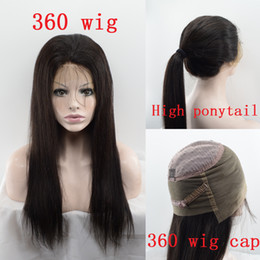 Wholesale High Ponytail Wigs - Long Straight High Ponytail 360 Lace Frontal Wig Pre Plucked 130 Density Brazilian Virgin Human Hair Wigs Sew in 360 Lace Wigs