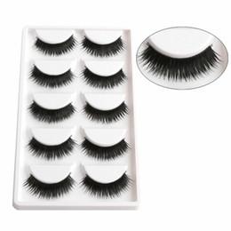 Wholesale Hand Made Boxes - 1 Box 5 Pairs Thick Black False Eyelashes Makeup Tips Natural Smoky Makeup Long Fake Eye Lashes