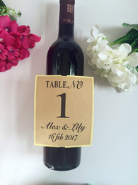 Wholesale adhesive bottle labels - Wholesale-Personalized Wedding Table Numbers Wine bottle Label Champagne decoration self adhesive stickers