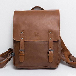 england college backpack Coupons - Wholesale- High Quality England Vintage Style PU Leather Men Backpacks For College Preppy Style School Backpacks for 14 inch laptop bags