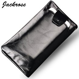 Wholesale Best Cell Phone Holder - Wholesale- Hot selling best price High quality Oil Genuine leather business long style men wallets suitable for 5.2 inch phone FGS121