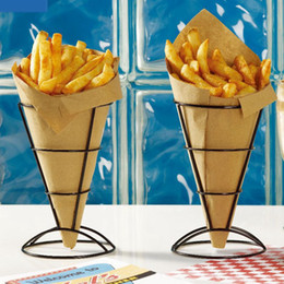 Wholesale Wholesale Cone Pieces - Christmas Decoration 2-Piece French Fry Stand Cone Basket Holder for Fries Fish and Chips and Appetizers