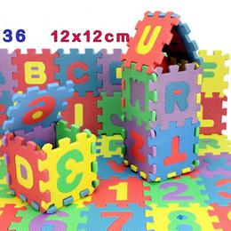 Wholesale Jigsaw Letters Wholesale - Wholesale- New 36pcs Set 12x12cm Puzzle Letters Digital Carpet Baby Play Mats Floor jigsaw Puzzle Mat EVA Children Educational Toys