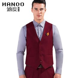 Wholesale Slim Fitting Formal Dresses - 2017 Red Color Men Suit Dress Vests Men's Fitted Leisure Waistcoat Casual Business Jacket Tops Three Buttons Men's Vest