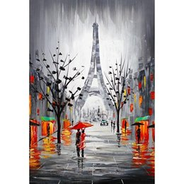Wholesale Canvas Panel Artwork - Handmade Modern Abstract City Canvas Picture Eiffel Tower Paris France Cityscape Signed Oil Painting Hand-painted Wall Artwork