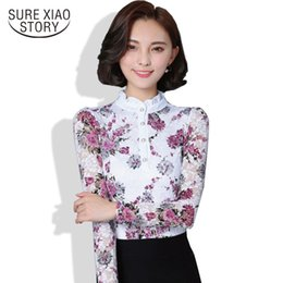 Wholesale Yellow Puff Sleeve Shirt - New 2017 Fashion Blusa Women Brand shirt Slim Pirnted shirt long-sleeved Female lace Tops Women lace blouse Plus size 4XL 36i 25