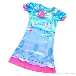 Wholesale Teenage Spring Dresses Wholesale - Trolls Clothes Girl Summer Carnival Costume Children infant Party Dress Good Luck Trolls Short Sleeve Girls Dresses Teenage Kids Clothing