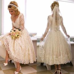 Wholesale Wedding Gown Transparent Sleeves - Romantic 3 4 Sleeve Deep V Neck Sexy Short Wedding Dress Lace Vintage Tea Length New Bridal Gowns Custom Made Princess Transparent Stunning