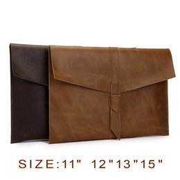 "Wholesale Laptop Carry Bags - Leather Envelop Laptop Sleeve Carry bag Case For Macbook Air Retina 11""12""13"