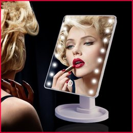 Wholesale Led Light Pockets - New upgrade LED Make Up Mirror 360 Degree Rotation Touch Screen Cosmetic Mirror Folding Portable Compact Pocket With 16 22 LED Lights Makeup
