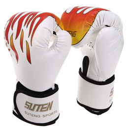 Wholesale Grappling Gloves - 1 Pair PU Leather Boxing Gloves Fire Pattern Sanda Boxing Training Flame Gloves Sparring Grappling Free Combat Thai