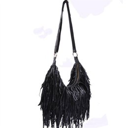 Wholesale Multicolor Shoulder Bag - Wholesale-2016 Fashion 100% Genuine Leather Tassel Bags Fashion Women Shoulder Bag Fringe multicolor Patchwork Handbags casual beach bags