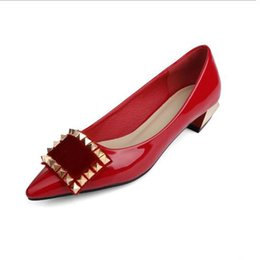 Wholesale Low Heel Patent Leather Pumps - Women elegant patent leather PU dress shoes ladies luxury red business office rivets shoes pointed toes wedding party shoes women's pumps