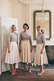 Wholesale Tea Length Skirt Top - 2017 Two Pieces Blush Skirts Silver Sequins Top Bridesmaid Dresses for Outdoor French Summer Beach Vintage Wedding A-Line Jewel Short Sleeve