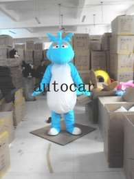 Wholesale Fancy Dress Dragon - The BLUE lovely dinosaur dragon mascot costume for adults christmas Halloween Outfit Fancy Dress Suit Free Shipping Drop Shipping