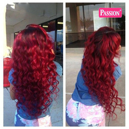 Wholesale Hair Extensions 22 Inch Red - Red Ombre Body Wave Human Hair Extensions 3 Bundles 1b Red Ombre Hair Weaves Colored Brazilian Peruvian Malaysian Virgin Hair Wefts 8A Grade