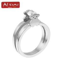 Wholesale Titanium Zircon Rings - hotsale Stainless steel ring ring ring titanium clip cute bear zircon