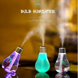 Wholesale humidifier bottle - USB ultrasonic humidifier home office Mini aromatherapy colorful LED night light bulb aromatherapy atomizer creative bottle