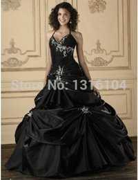 Wholesale Halter Ball Gown Wedding Dress - Antique Gothic Black Wedding Dresses Bridal Gowns Colorful Halter Ball Gown Corset Embroidery Taffeta Vintage Colorful Wedding Gowns