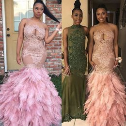 Wholesale Ivory Feather Bridesmaid Dresses - Gorgeous Appliqued Feathers Bridesmaid Dresses Sequined Mermaid Sheer Jewel Neck Wedding Guest Gown Long Beaded Party Dress