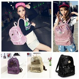 Wholesale Women 3pcs Casual - Women Sequins Crown Backpack Schoolbags Shoulder Bag Travel Rucksack Tote Handbag Bling Satchel Bags Campus Bag 3pcs OOA3803