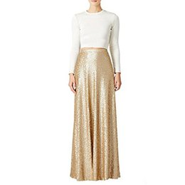 Wholesale Custom Made Bridemaids Dress - Honey Qiao New Bridemaids Skirts 2017 Womens Maxi Wedding Party Skirts Gold Sequins Holiday Formal Skirt Custom Made
