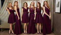 Wholesale Different Color Pink Bridesmaid Dresses - Burgundy Lace Bridesmaid Dresses 2017 New Different Style Sleeveless Formal Wedding Gown Party Dresses Custom Made Plus Size